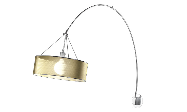 Alessandro Trentin and Carlo Zerbaro Steel Arc Wall Lamp