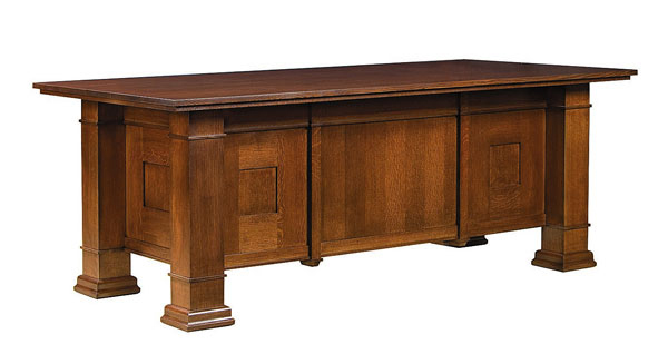 Quarter Sawn Oak Executive Desk Double Pedestal Quarter