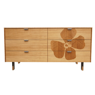 James Sanderson and Michael Iannone Green Mod Flower Inlay Long Dresser
